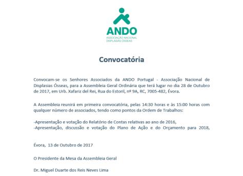 Convocatória Assembleia Geral Outubro 2017