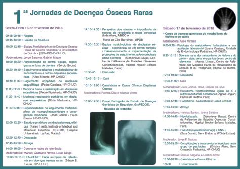 Programa 1as jornadas das doenças osseas raras